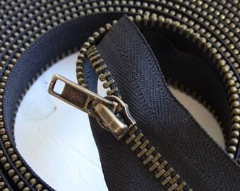 "Kit zipper slide metal old brass 5mm long 5 meters + 10 ""sliders"" bronze chain continues"