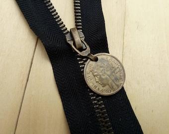 Zipper slide Metal Bronze or Nickel 5.6 mm Ribbon black paper or Non long 20 cm to 80 cm zipper old coin