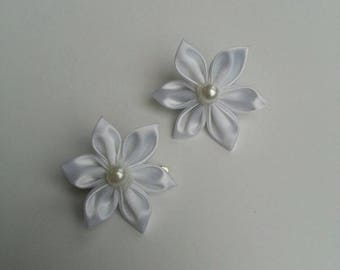 set of 2 white satin flower Alligator Clips