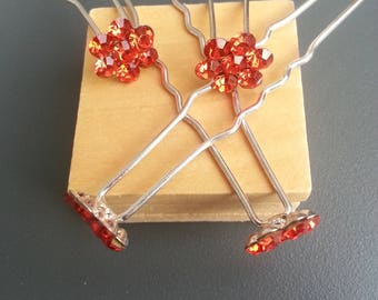 set of 4 red 65mm flower rhinestone hair pins