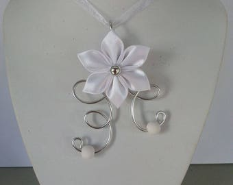 Wedding necklace silver and white satin flower child
