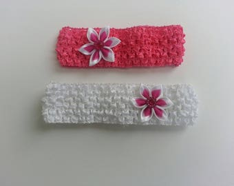 crochet pink and white satin flower headband