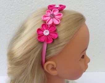 Fuchsia and pink flower trio headband
