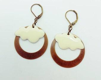 Earrings white clouds