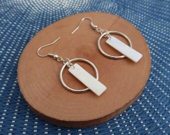 Earrings rings hoop earrings women jewelry, seashell pendant