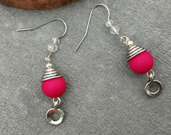 Earrings pink and silver, minimalist earrings boho chic, handmade, gift for her