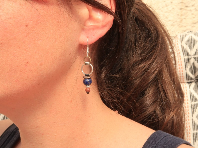 Natural stone graphic earrings