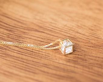 Gold Colored (Brass) Necklace with Very Dainty Square Diamond