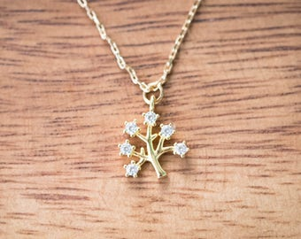 Gold Colored (Brass) Necklace with Dainty Tree with Diamonds Pendant - Minimal Jewellery