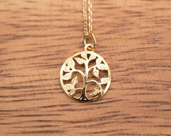 Gold Colored (Brass) Necklace with Circular Tree of Life Pendant