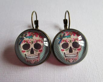 """Earrings """"Pink and blue Skull"""", bronze cabochon, costume jewelry"""