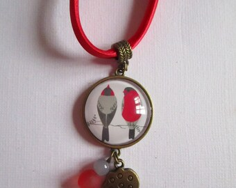 """""""Birds on branches"""" necklace, bronze cabochon, costume jewelry"""