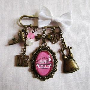PIN Brooch Mam /' Miss jumper costume jewelry bronze cabochon
