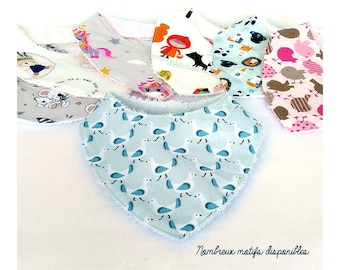 Baby bandana bib in sponge and cotton - Different patterns to choose from