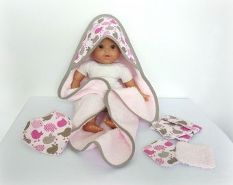 Bath exit / sponge bath cape, washcloth and bib coordinated for dolls and dolls - Several colors available