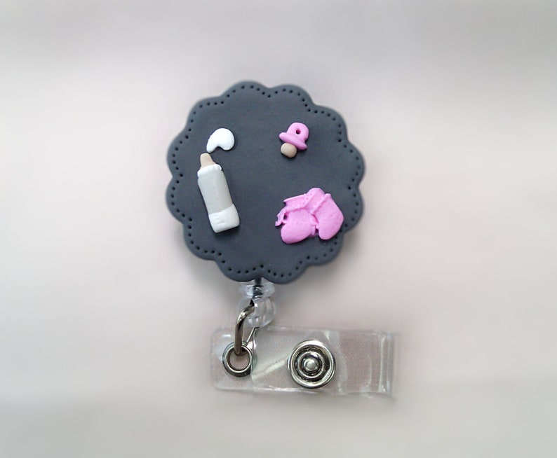 made of fimo for nursing staff model baby polymer clay Badge holder  rack scissors with drum
