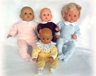Velvet pyjamas for infants of 30 or 36 cm (Corolle type, Nenuco,...) - Several colors available