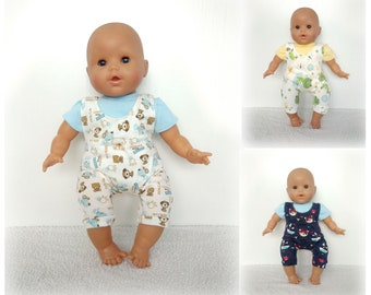 Body and overalls in jersey for baby of 36 cm (Corolla, Nenuco ...) - Several patterns and colors available