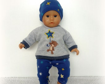 Embroidered sweatshirt and leggings type trousers in jersey for baby of 30 and 36 cm (Corolla, Nenuco ...) - Several versions available