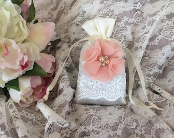Free shipping! Pink Lavender shabby flower satin pouch