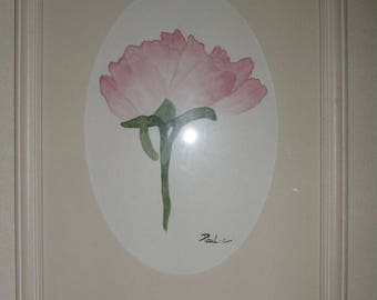 Peony watercolor framed