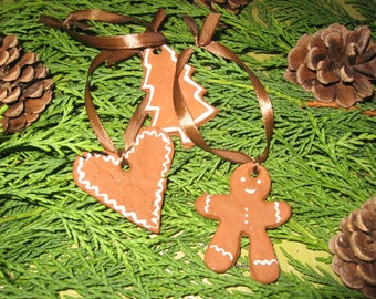 Free shipping! set of three Christmas tree salt dough ornaments