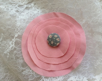 Pink flower 11 cm in cotton fabric