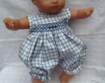 Blue, Brown, cotton romper has smocking for 36 cm doll
