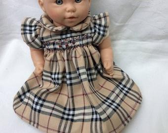 Tartan smocked dress in 30 cm dolls