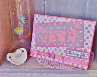 Girl birth announcement, baby, handmade, 3D - FPN030