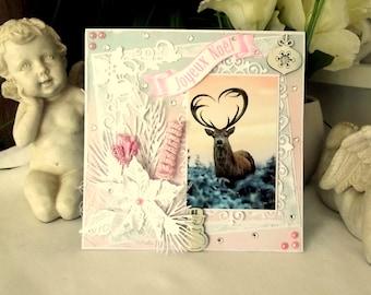 Handmade card for Christmas, greeting card, reindeer, shabby, 3D theme - CN111