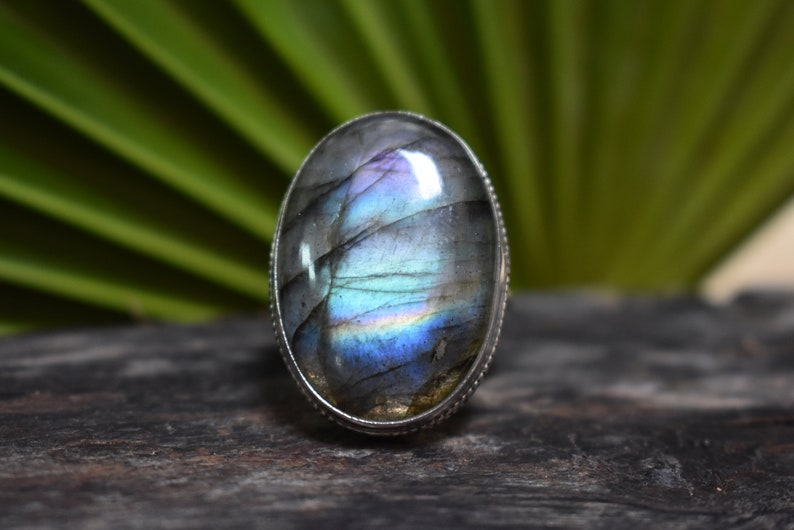 925 silver purple labradorite ring-purple flashy labradorite ring-rainbow labradorite ring-handmade ring-ring for women-design ring