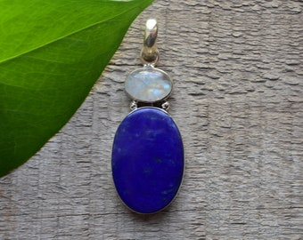 natural lapis pendant,natural rainbow moonstone and lapis pendant,handamde pendant,925 silver pendant,natural lapis lazuli pendant