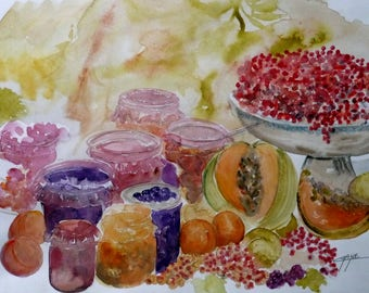 "original painting, original art, contemporary art, painting, ""Lola jams"", watercolor painting, modern art"