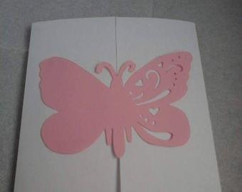 Faire part papillon rose et blanc (lot de 12 faire part)