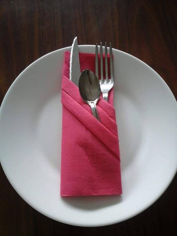 pliage serviette range couvert rouge mod le 3 etsy. Black Bedroom Furniture Sets. Home Design Ideas