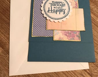 """Handmade Just Because Card Blue 7""""x5"""" Gift/Cash Pocket Stamped"""