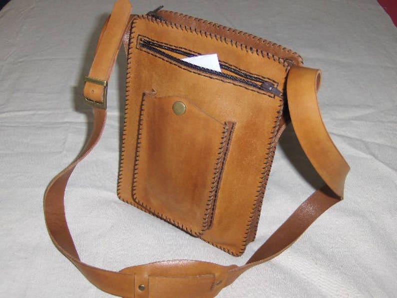 Handmade black leather bag