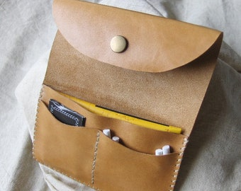 Camel leather tobacco pouch