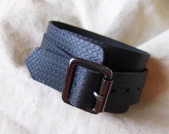 Fancy black leather bracelet handmade