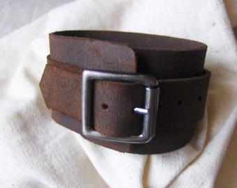 Handmade rustic Brown Leather Bracelet