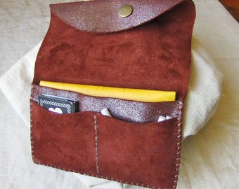 Red burgundy leather tobacco pouch
