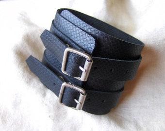 Fancy black leather strength wide bracelet handmade