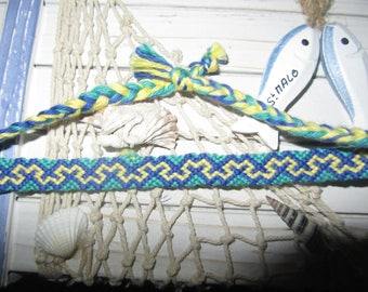 Friendship Bracelet drawing MW green, yellow, dark blue