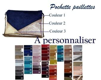 f4ea717e7e Personnalisation pochette mariage pochette de soirée personnalisée sac  simili cuir paillette argent dorée cuivre bronze Après la Plage