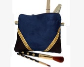 Pouch, mini bag, makeup Kit in black faux suede and Blue Navy, Golden - after the beach graphic lines