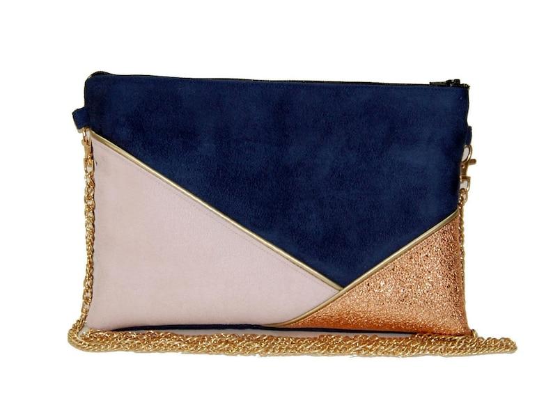 c407d0cb18c26 Pochette mariage pochette de soirée sac bleue marine rose   Etsy
