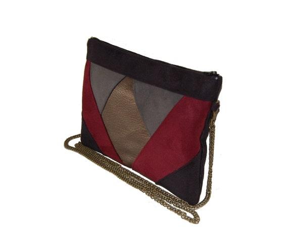 Pochette mariage, pochette de soirée, sac à main en suédine gris, noir, bordeaux, simili cuir bronze Après la Plage