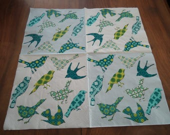 4 NAPKINS in paper - birds - 9 decorated theme