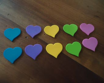 set of 10 hearts - STICKERS - about 3 cm height